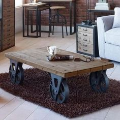 coffee table with metal wheels, lounge table, old wheels, industrial style, metal wheels, restored table modern style, TV table, wooden table, solid wood, handmade, decoration, living room, dining room, living room, antique style, table with storage space, coffee table with drawers,