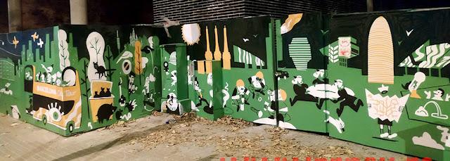 Arte urbano verde Barcelona Núñez y Navarro
