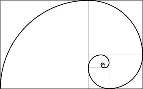 ilustracion de la espiral de fibonacci (fibonnaci sequence), sucesión de fibonacci, secuencia de fibonacci, o también llamada espiral dorada; todo ello con fondo blanco 6