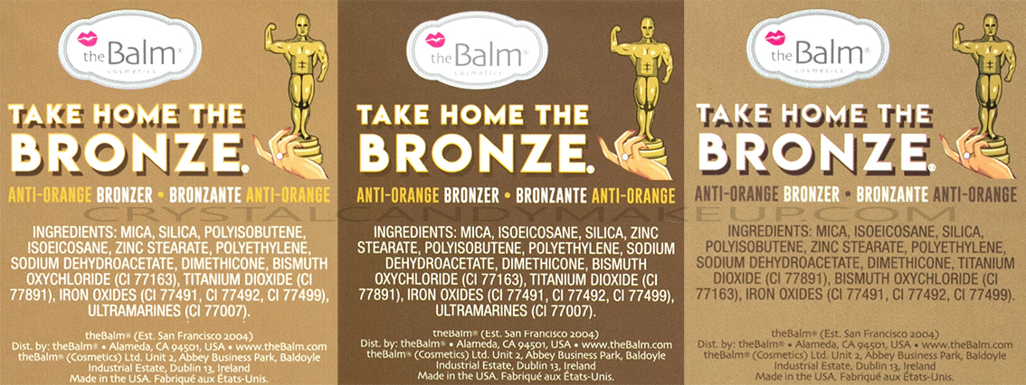 TheBalm Take Home The Bronze Anti-Orange Bronzers Ingredients