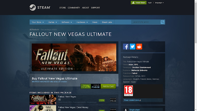 I did recently buy Fallout New Vegas Ultimate Edition recently in Steam for only $3 US Dollars