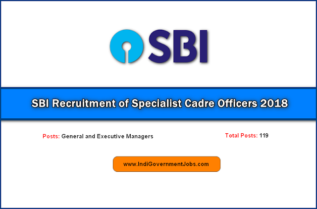 SBI Recruitment of Specialist Cadre Officers 2018