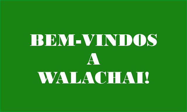 A imagem de fundo verde e caracteres em branco diz:Bem-Vindos a Walachai.