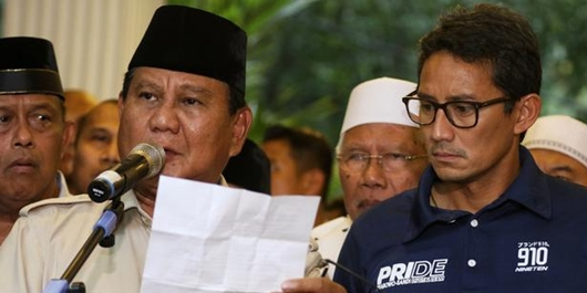 Prabowo: Saya dan Sandiaga Uno Presiden dan Wakil Presiden 2019-2024