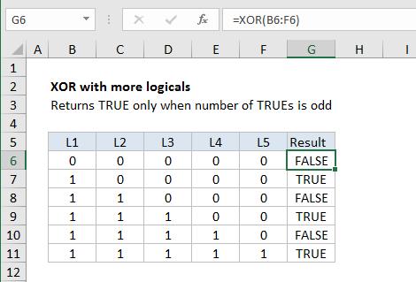 صيغ وشرح استخدام الدالة XOR في برنامج Microsoft Excel