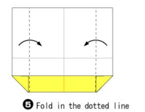 Bước 4: Gấp hai cạnh giấy vào trong như hình vẽ