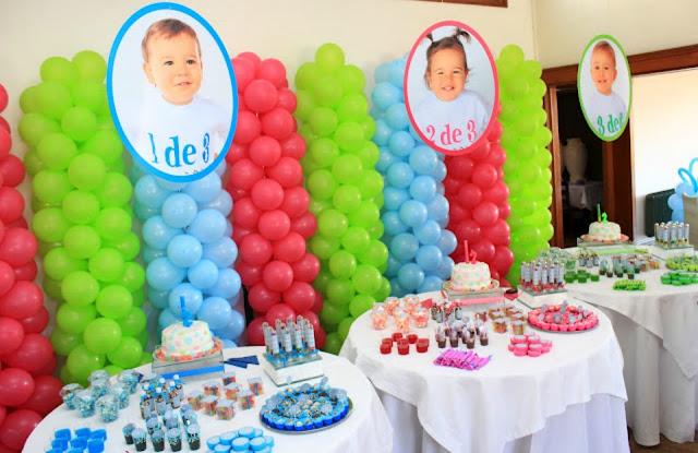 18 Ideias  para aniversários de gêmeos e trigêmeos