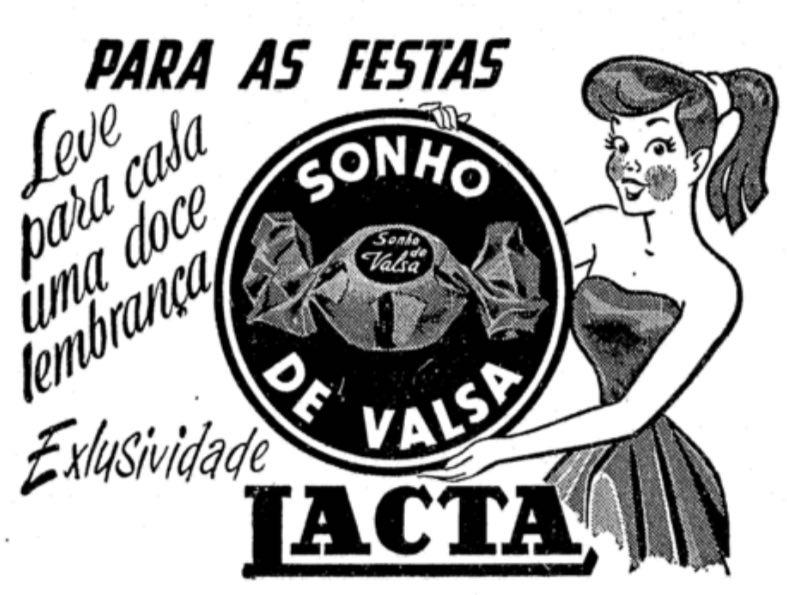 Propaganda antiga da Lacta promovendo o Sonho de Valsa nos anos 50