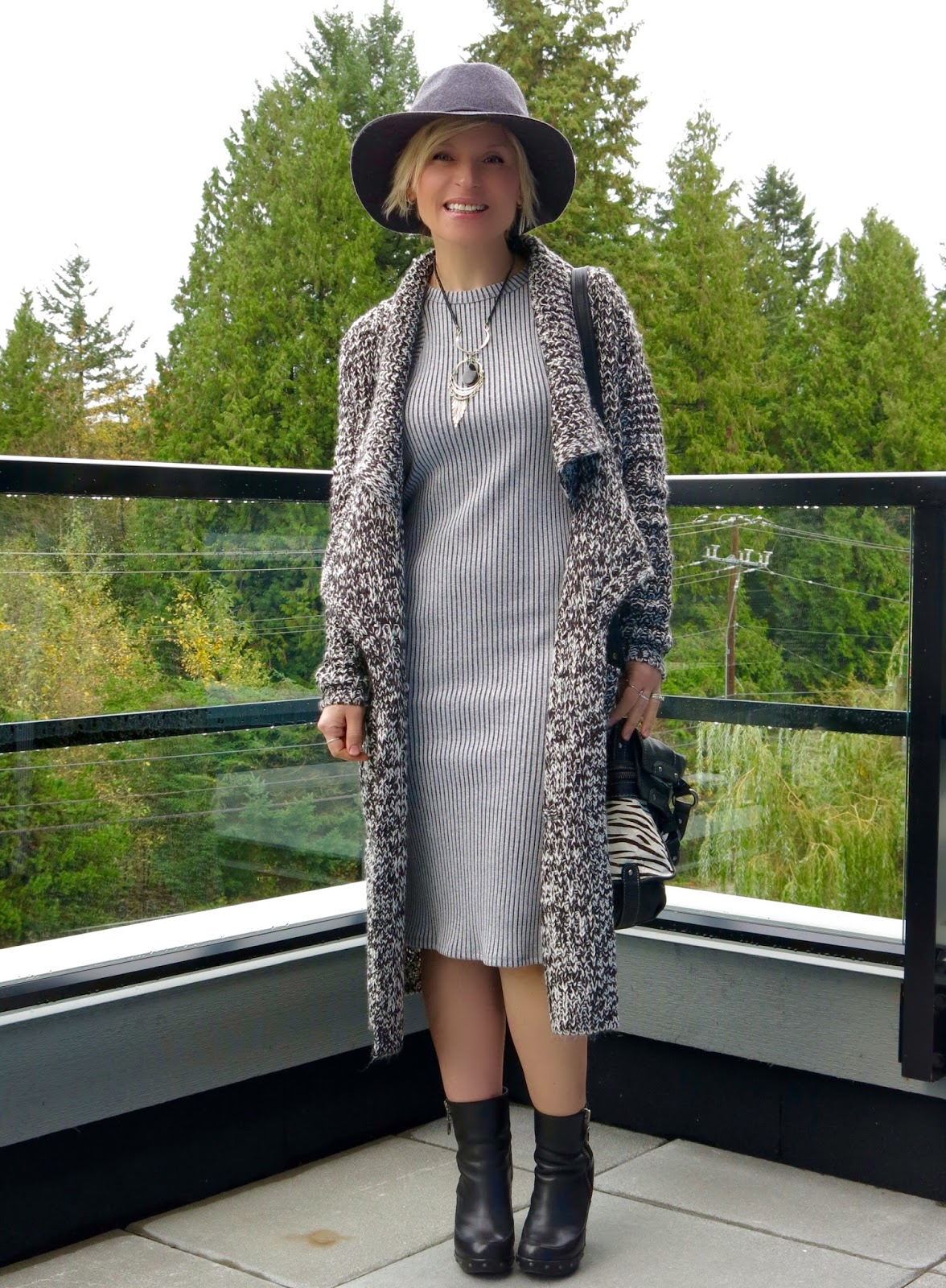 styling a sweater coat with a tank dress, booties, and floppy hat