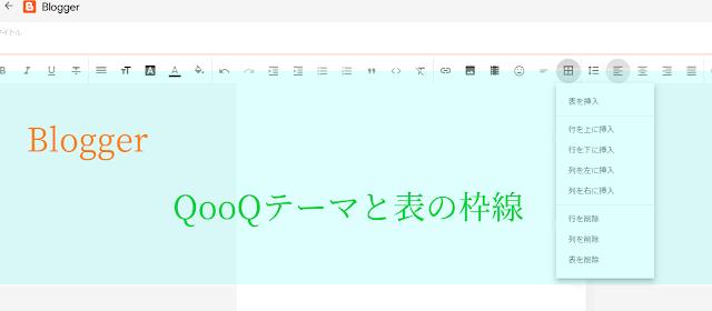 【Blogger】QooQテーマと表と枠線