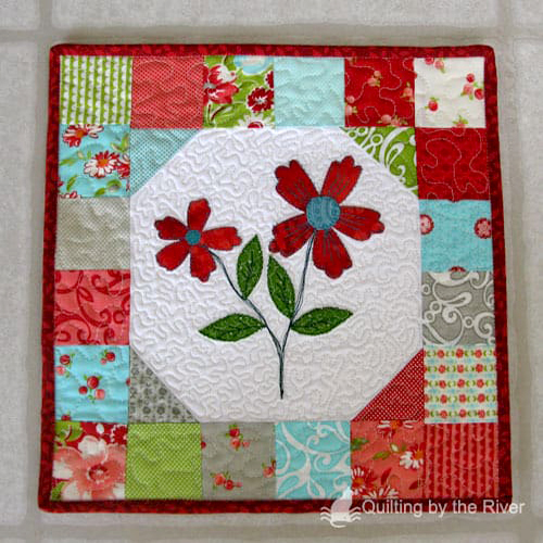 Ruby Floral Mini Quilt Tutorial