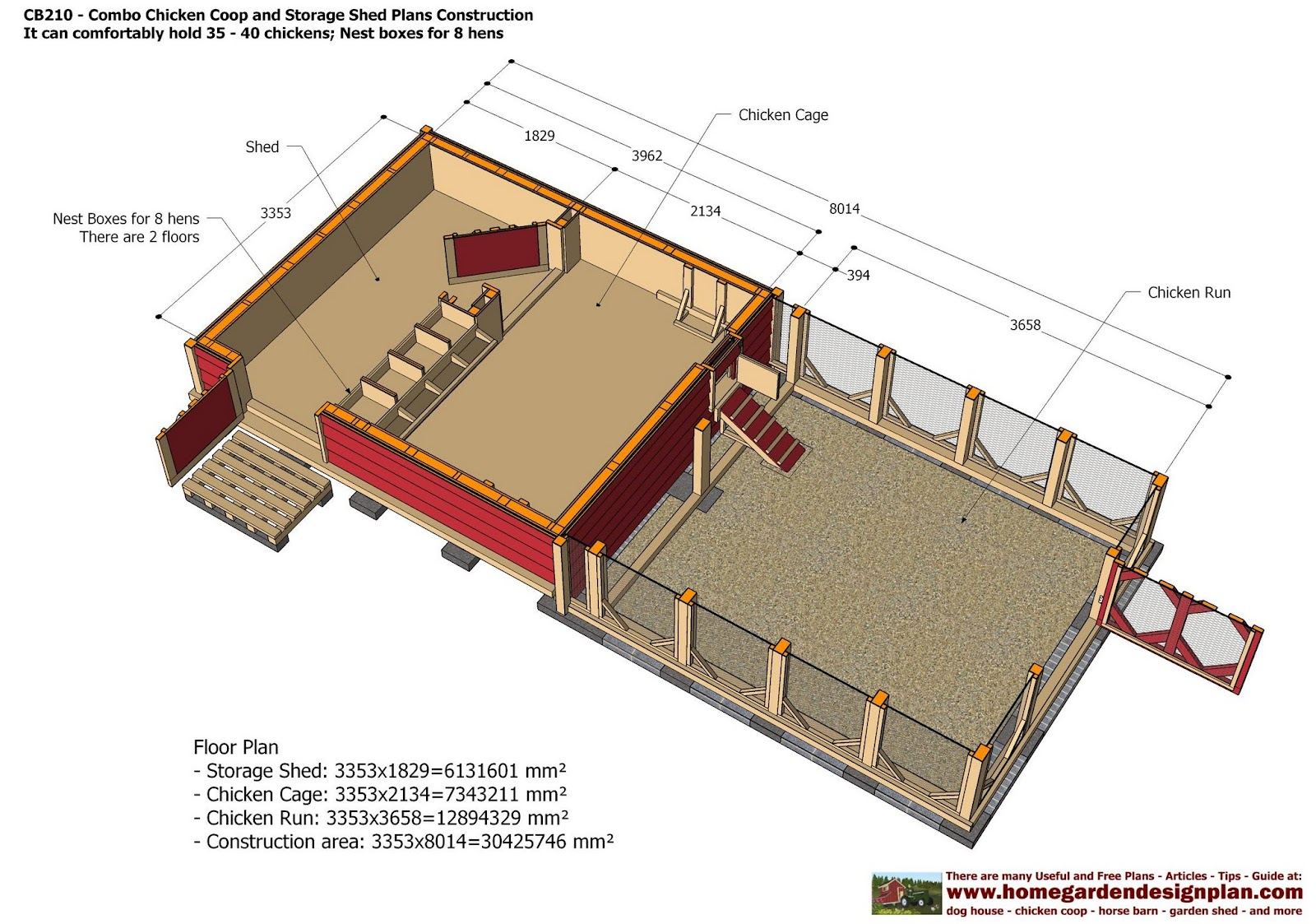 Cb210 combo plans chicken coop plans construction garden for 10x10 shed floor plans