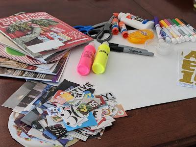 magazines, markers, scissors and glue sticks