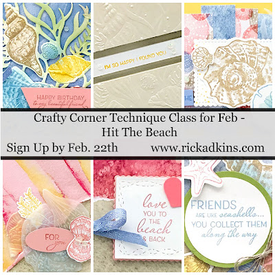 Take a journey to the beach with me in this month's Hit the Beach Technique Card Class.  We will be creating fun cards using a few different techniques Click here to learn more and how to register