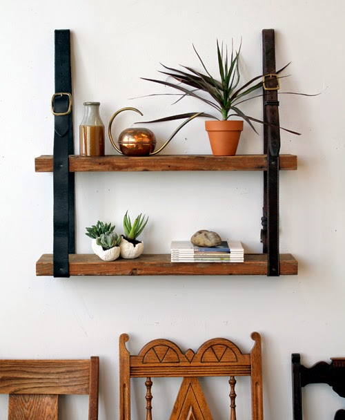 30 Awesome DIY Projects that You've Never Heard of - Recycled Leather and Wood Shelves