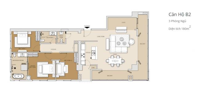 căn hộ 3 phòng ngủ tháp Brilliant dự án căn hộ Đảo Kim Cương