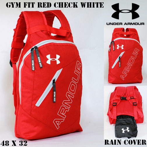 TAS RANSEL UNDER ARMOUR GYM FIT MERAH LIS PUTIH