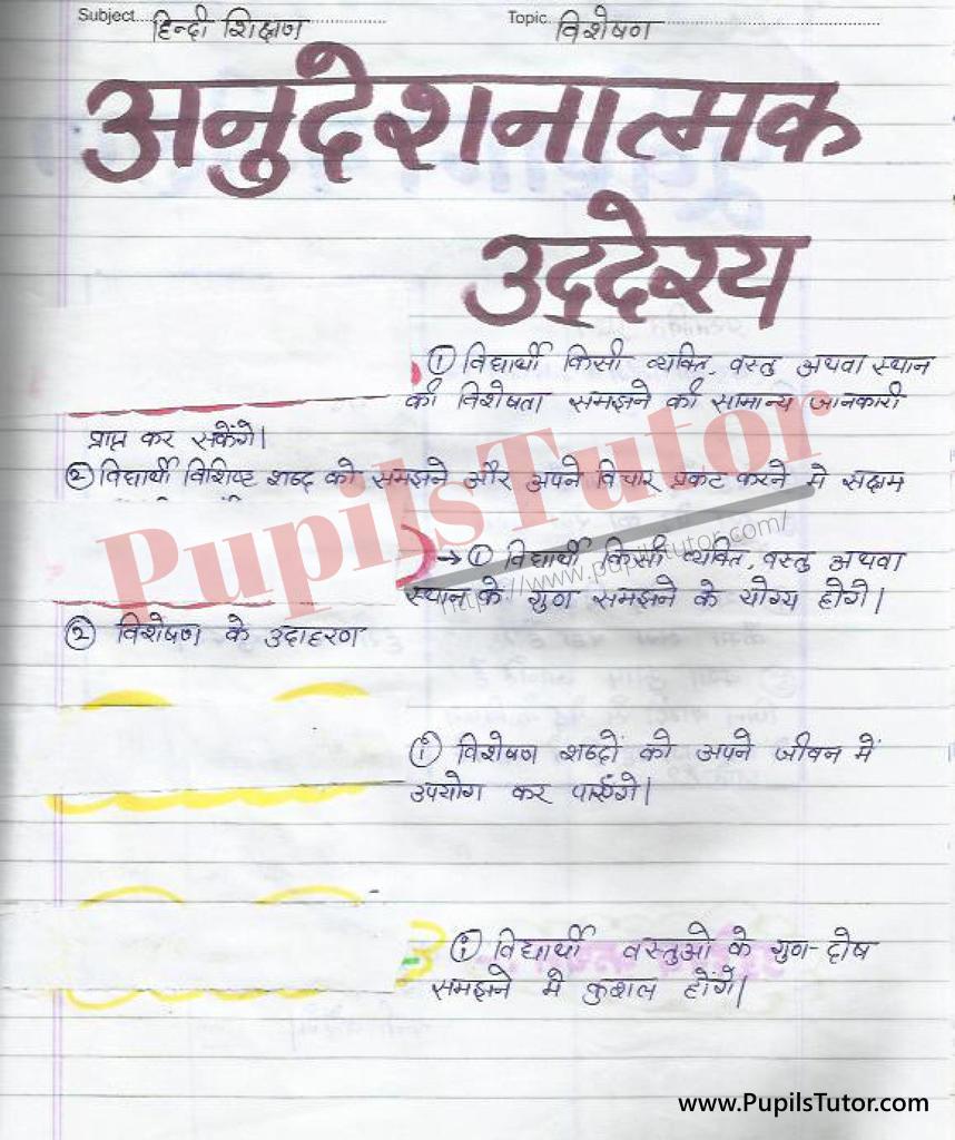 Visheshan Aur Visheshan Ke Prakar Lesson Plan in Hindi for B.Ed First Year - Second Year - DE.LE.D - DED - M.Ed - NIOS - BTC - BSTC - CBSE - NCERT Download PDF for FREE