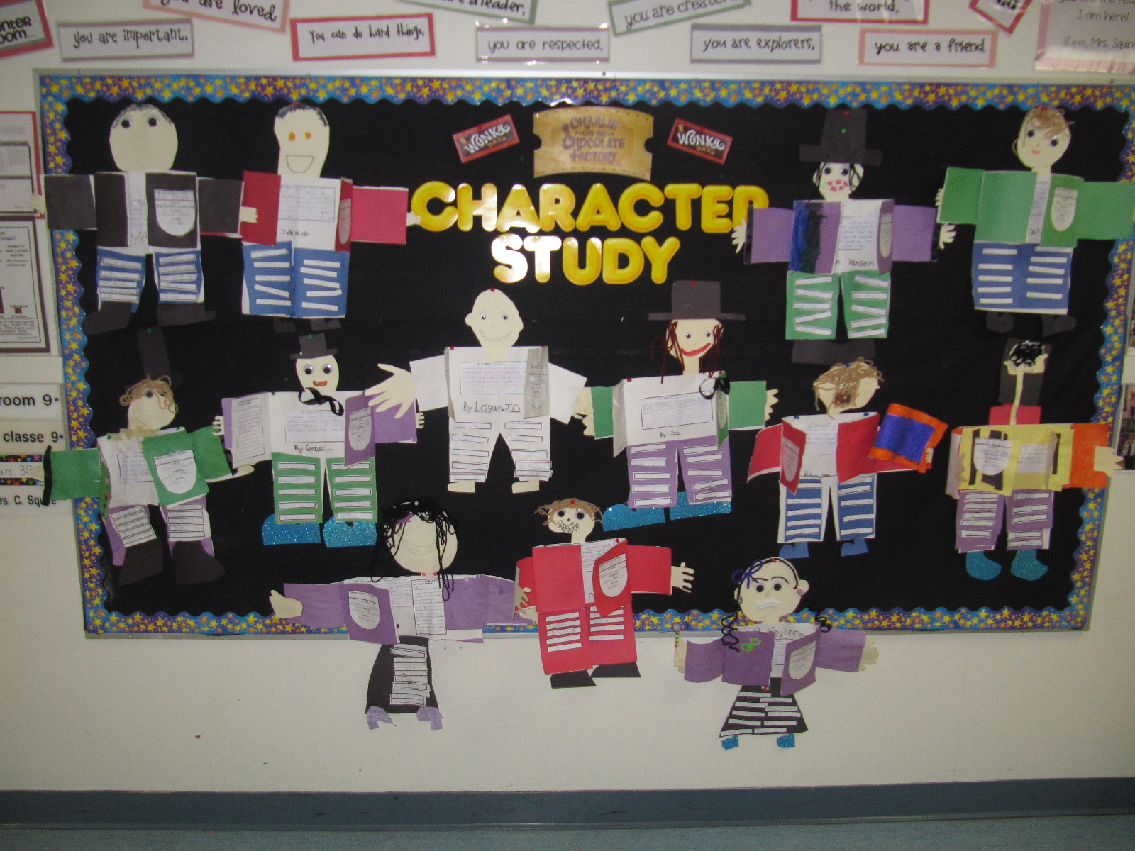 mrs squire s grade 3 class 3s charlie and the chocolate charlie and the chocolate factory check out these cute characters each student chose a character from the novel to do a character report on