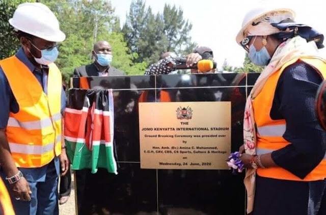 CS Amina Mohammed photos in Kisumu opening Kenyatta stadium