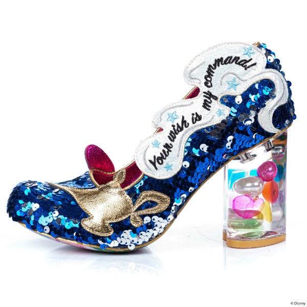 gem filled lucite heel shoe with magic lamp applique on side