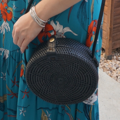 teal floral maxi dress, Amerii medium sling rattan bag in black | awayfromtheblue