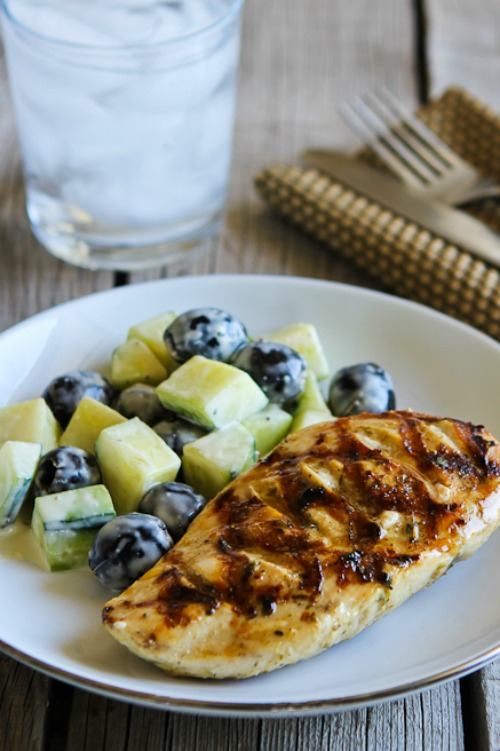 Grilled Chicken with Lemon, Capers, and Oregano found on KalynsKitchen.com