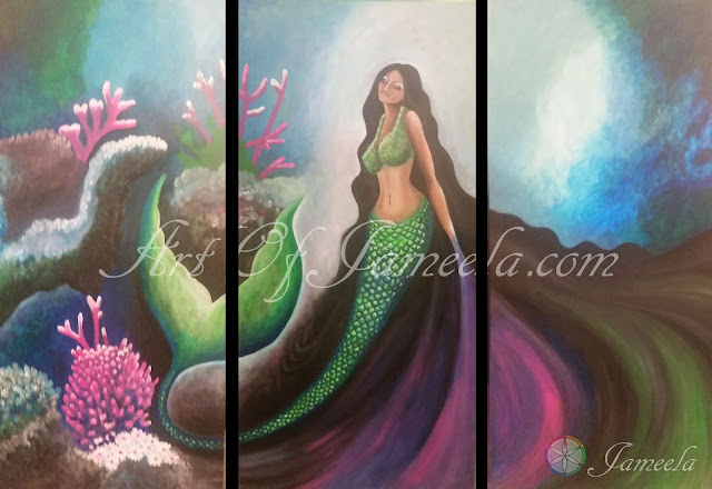 Goddess of Water Painting by Jameela symbolizing cleansing energy, motion, and love. Art of Jameela.