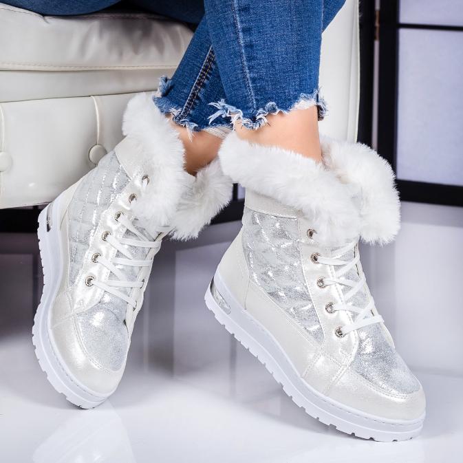 Ghete dama argintii de iarna imblanite foarte ieftine inalte la moda