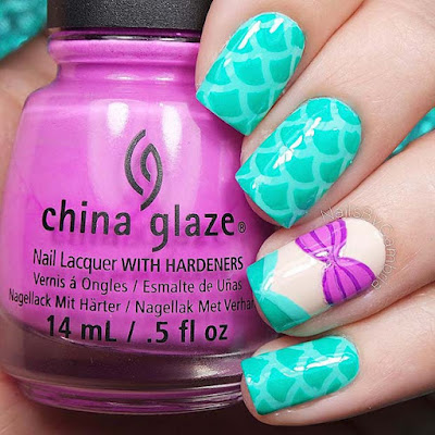 women turn to blogs and Pinterest to gain inspiration for nails ✘ 25 Cute Little Mermaid Nail Art That Belong On The Beach