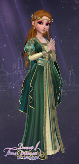 Romy in a regal green dress and gold circlet over long red hair