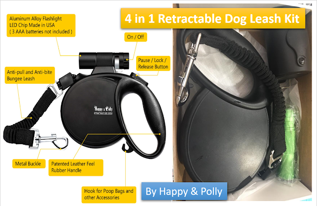 Retractable Dog Leash with Flashlight Detachable