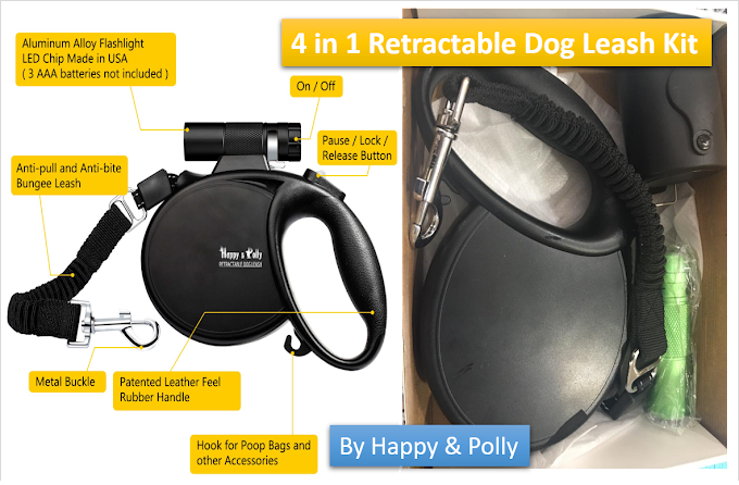 Dog Leash | Retractable with Flashlight Detachable