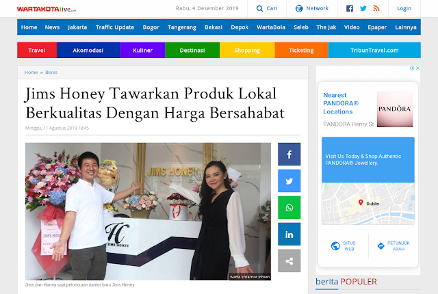 Jims Honey Tawarkan Produk Lokal Berkualitas Dengan Harga Bersahabat