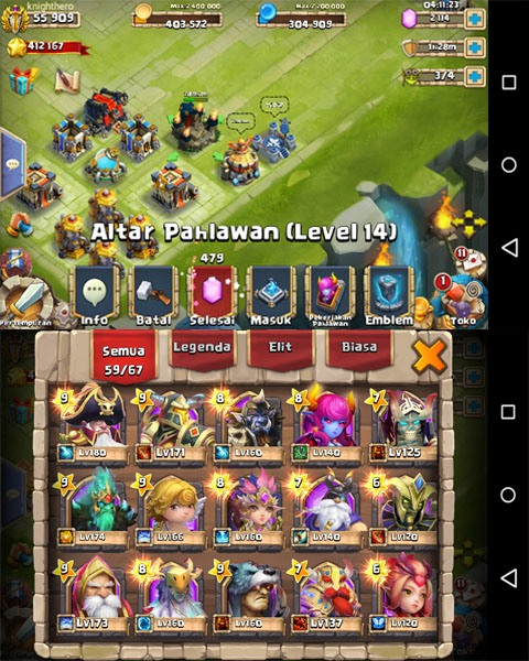 altar pahlawan game castle clash