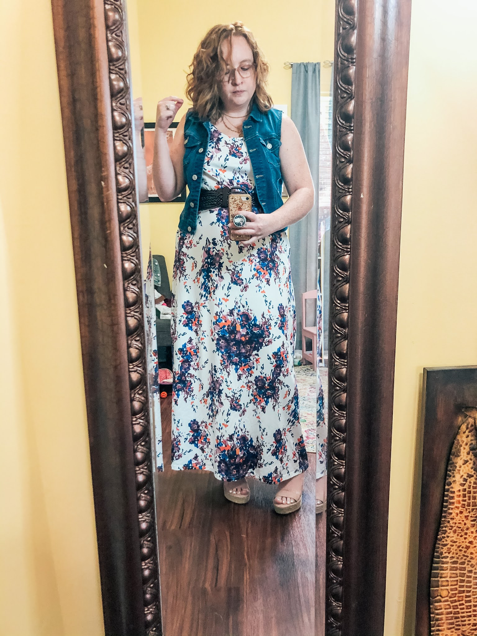 belted-white-floral-maxi-dress-denim-vest
