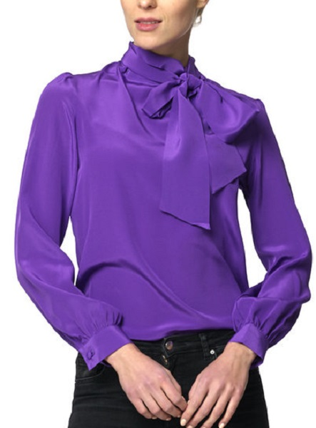 Crown Princess Victoria was wearing her purple pussy-bow Greta blouse