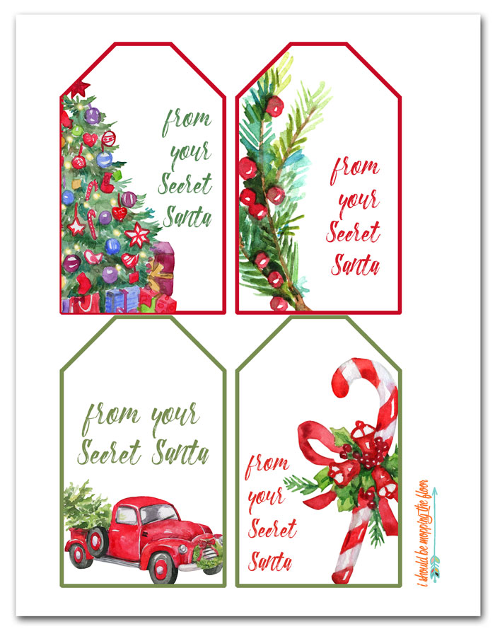 Crafty image throughout secret santa gift tags printable