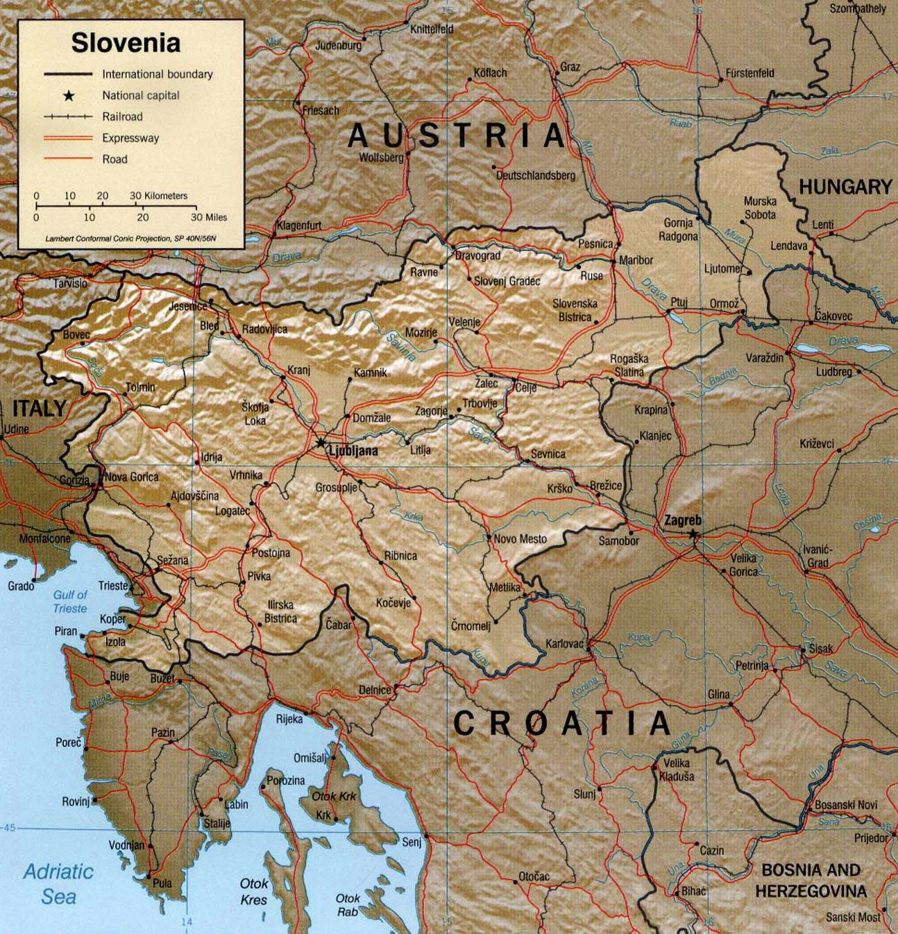 Eslovênia | Mapas Geográficos da Eslovênia