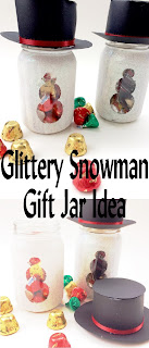 Make a snowman that will last all year long and is super cute with a bit of sparkle, a cute magic hat, and some yummy chocolate candies.  This snowman gift jar is the perfect Teacher gift, neighbor gift, or gift for your best friend.  It's easy and worth every little bit of glitter.
