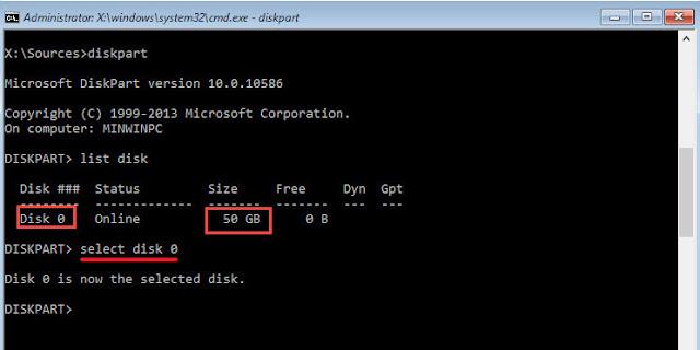 اختار الهارد عن طريق امر select disk