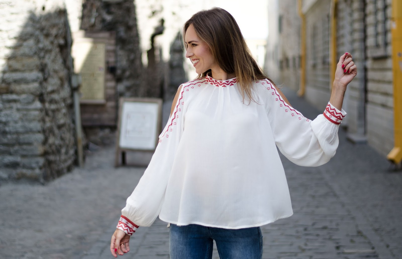 kristjaana mere lindex white cold shoulder blouse