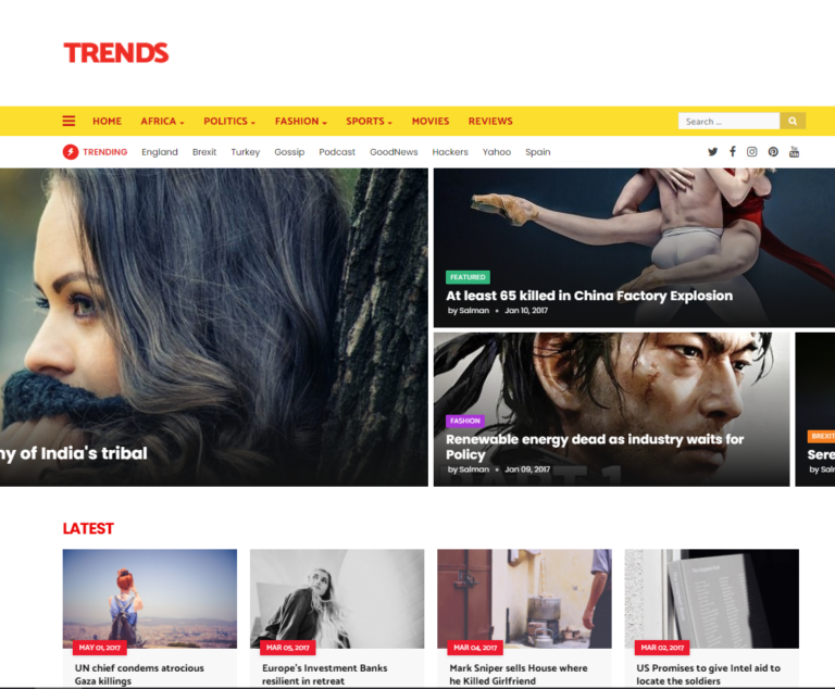 Trends Magazine Blogger template download for free
