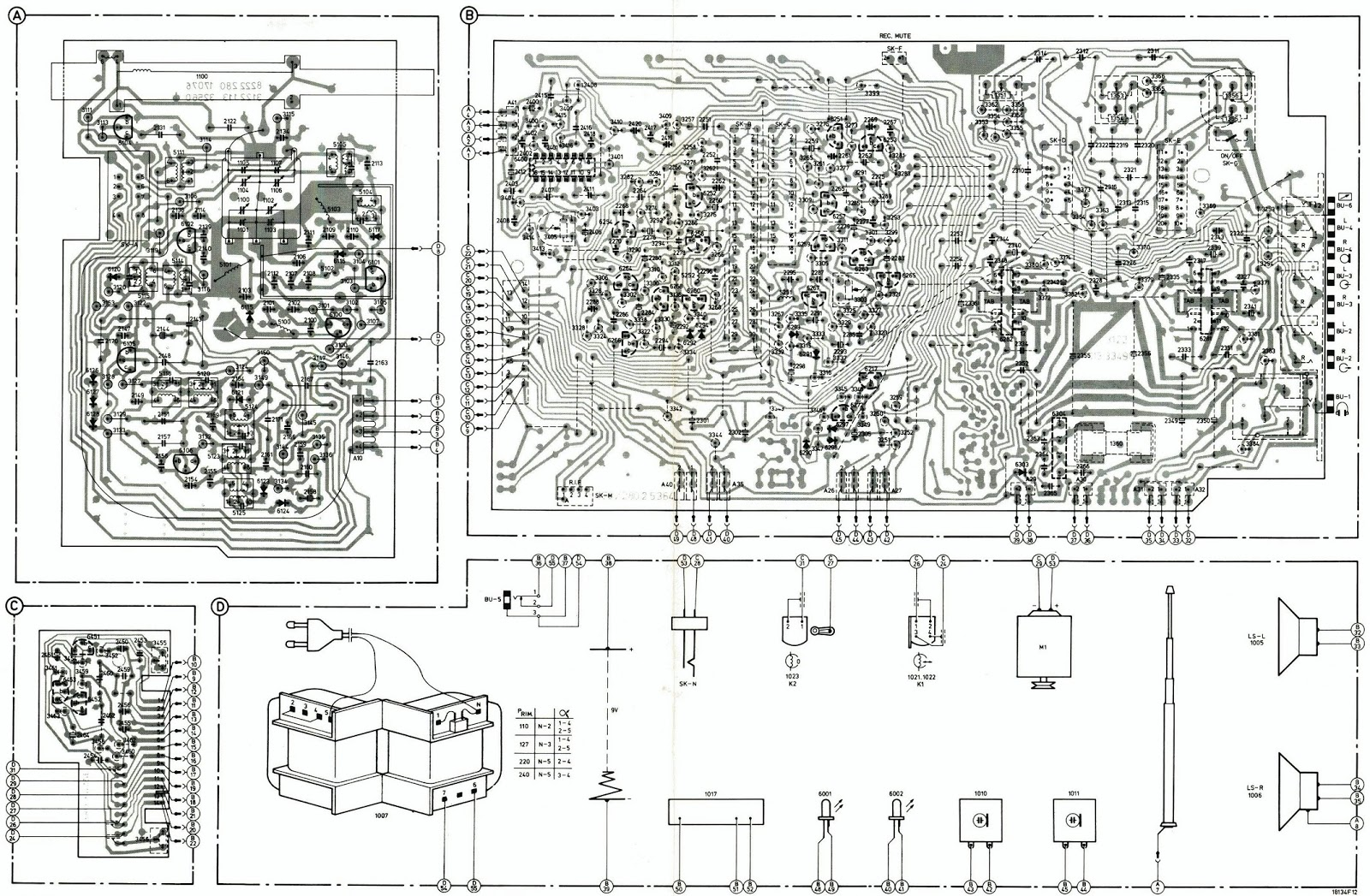 Philips Stereo 22AR58000 Radio Recorder  Schematic
