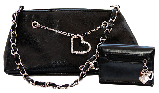 Small black purse with rhinestone heart and silver chain.
