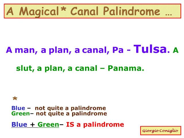 wordplay; palindrome; magical palindrome; Giorgio Coniglio