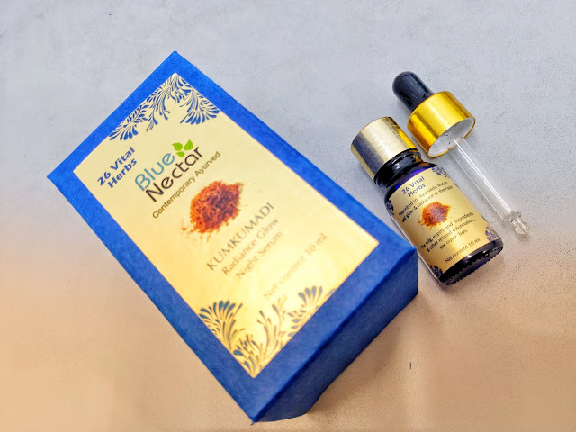 Blue Nectar Kumkumadi Radiance Glow Night Serum Review and Pictures