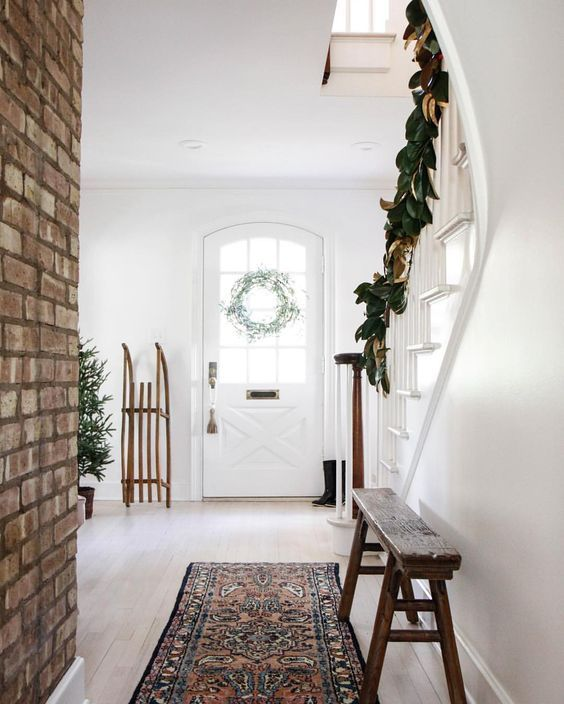image result for modern farmhouse interior design beautiful brick wall bench