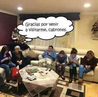 gracias por venir a visitarme, cabrones, abuela, nietos, con los móviles