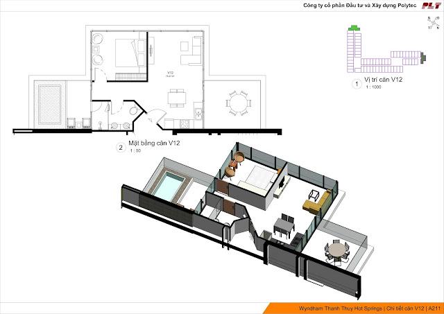Mặt bằng thiết kế căn hộ Wyndham Thanh Thủy Hotels & Resorts Phú Thọ